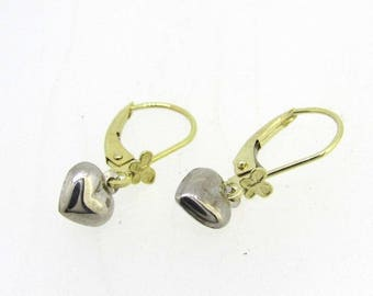 14k Gold Heart Drop Earrings 0.7 Grams