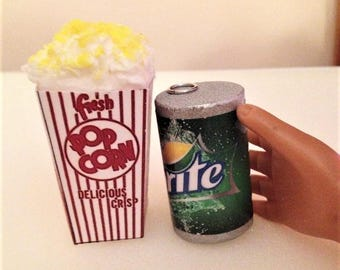 Popcorn and a can of soda for movie night for the American girl and her 18 inch doll!