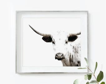 Cow Art Large Cow Printable Art Cow Watercolor Print Cow Nursery Print Cow Painting Cow Art Cow Print Cow Art Longhorn Cow Nursery Decor