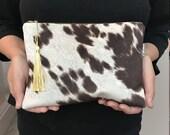 Cowhide Faux Fur bag w gold tassel,Brown Cowhide Clutch Bag, animal print Gifts under 25, Gift for her, Makeup bag,cosmetic bag. Cowhide Bag