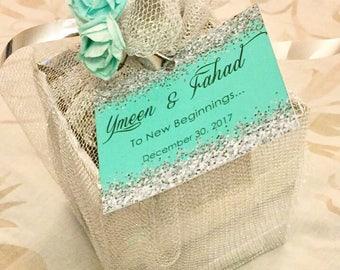 Glitter wedding favors, glitter gift tags, Mithai box cards, Indian wedding, Muslim wedding, ameen, bismillah, eid mubarak, 24 ct.