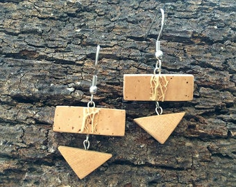 Cork-Juniper Earrings-prickly pear fiber-natural elements Collection