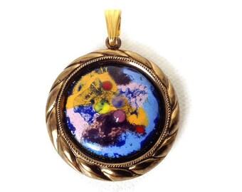 vintage enamel pendant, enamel on copper, OOAK enamel pendant