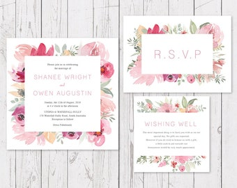 Printable Wedding Invitation, Pink floral Watercolour Invite, Digital or Professionally Printed, Bloom Suite, Peach Perfect