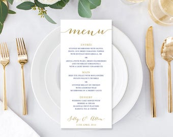 Wedding Menu, Custom Printable Menu, Navy Blue and Gold, Free Colour Changes, DIY Wedding, Corporate Menu, Print Your Own, Classic Glam