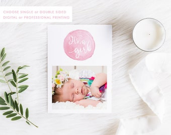 Digital Printable Birth Announcement Card, Baby Girl, Thank You Card, Photo Announcement, Printable, Double Sided, 01GIRL