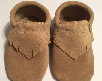 Sandstone Suede Moccs  == Queen B Moccs == Baby Moccasins ==