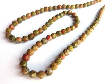 Pearl Ø 4mm unakite PCH0100 L unit gem gemstone faceted semi precious