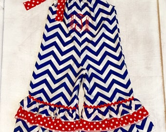 Girls blue and white chevron pillowcase romper with ruffles