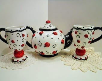 For KAREN L. ONLY, Reserved, Ladybug Teapot, Large Lady Bug Teapot With Matching Cups, Ladybug Cups and Teapot, Fun Teapot Set, Bright