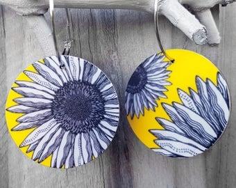 """Large disc earrings – Matte finish """"Yellow daisy"""" (wearable art, statement earrings, floral)"""