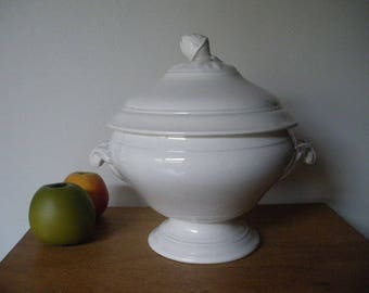 French Antique Soup Tureen-SARREGUEMINES Et DIGOIN-20s-Earthenware-White Ironstone-Shabby Chic Tureen-Cottage chic Footed Bowl-Farmhouse