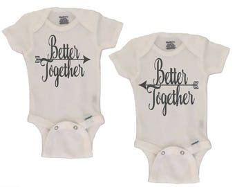 SET Of Twins ONESIESR Baby Gifts Best Friends Onesies