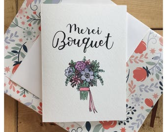 MERCI BOUQUET // thank you card, thank you, merci card, flower card, greeting card, pun card, bridesmaid gift, pun, funny card, punny card