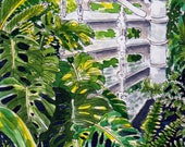 Original Watercolour Painting - Tropical Palm House Stairs with leaves
