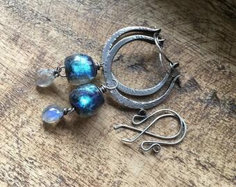 Rustic earrings . Basha bead hoops . sterling silver hoops . blue shimmering lamp work . 2 in 1 earrings . artisan hoops , sterling hoops