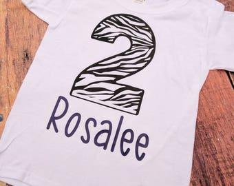 Zebra birthday shirt, girls Sentra birthday shirt, zoo birthday shirt, girls zoo birthday shirt, custom zebra birthday shirt