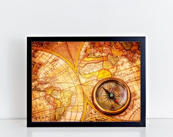 VINTAGE WORLD Art Map Compass Print Antique Vintage Style Modern World Map Poster Globe Map Art Globe Print Vintage Large Wall Art Print