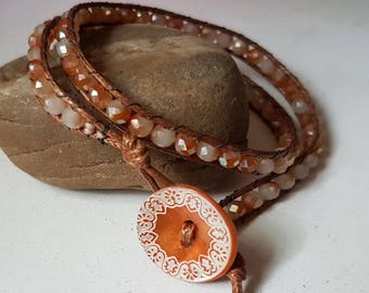 August - Salmon pink wrap bracelet