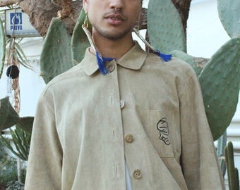 Beige Leather Jacket with Artwork