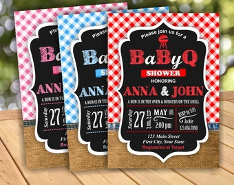 BBQ Baby Shower Party BaByQ Invite Red or Pink or Blue Plaid Lumber Jack Invitation Rustic Digital Burlap Denim barbecue BBQ4 Boy Girl
