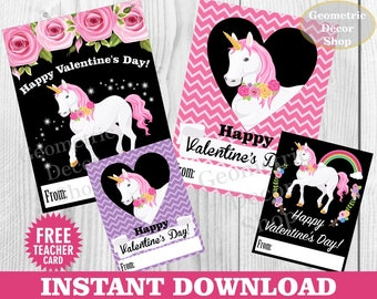 Instant Download / Unicorn / Valentine / Card / Valentines / Pink / Purple / Valentine's Day / Tags / teacher / Floral / chalkboard VCard24