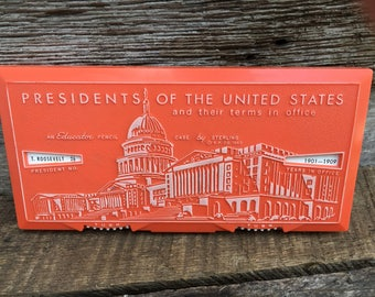 Vintage 1963 Pencil Case By Sterling, Lists Presidents of the United States Ends 1963, Educator Presidents, Educational School Supplies