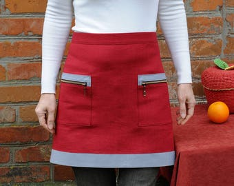 Marsala Natural Linen Apron Half apron Baking Apron Linen Cafe apron Red Kitchen Apron Hostess aprons Womens Aprons Cooking wife gift ideas