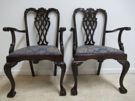 Pair Vintage Mahogany Reproduction Ball Claw Chippendale Dining Arm Chairs