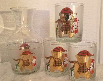 "Vintage Stunning Culver Glass Ltd. CUV21 ""Christmas Bear"" Drinking Pitcher Set. Red, Gold Christmas Bear, Gifts. Discontinued 1982."