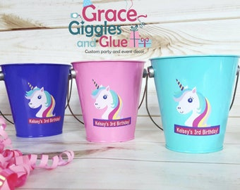 10 Metal Unicorn Inspired Favor Pails