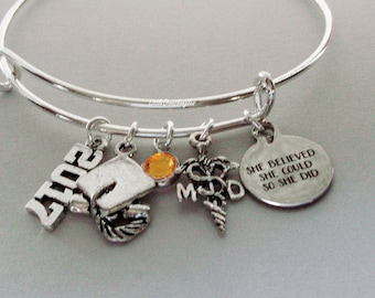 "20170/2018 Personalized MD ( Medical DR // Graduation ""She Believed She Could So She Did"" Bangle W/ Birthstone - Initial  College Gifts  25"