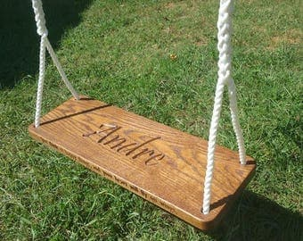 Engraved Wood Tree Swing Solid Oak with Personalized Edge