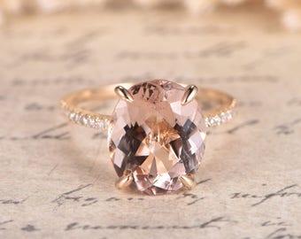 VS Natural Morganite Engagement Ring Rose Gold Diamond Wedding Rings 14K Rose Gold Diamond Band 10x12mm Oval Morganite Ring Promise Ring