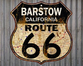 Barstow, California Route 66 Vintage Look Rustic 12X12 Metal Shield Sign S122069