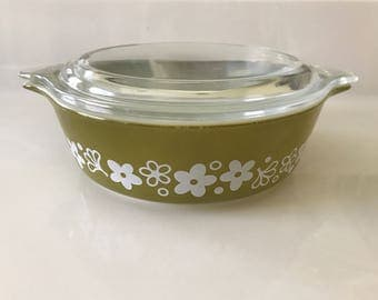 Vintage Pyrex 471 Spring Blossom Crazy Daisy Green White Flowers Serving Side Dish Bowl Casserole