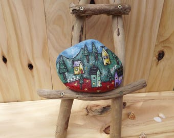 Christmas painted rock rustic decoration, perfect gift for her unique design paperweight bookend folk art village winter snow Australian art