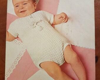 Vintage Pattern Patons 9855, Baby Romper Pattern, Vintage Baby Romper Pattern, Baby Romper Knitting Pattern