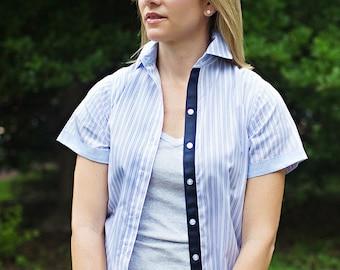 The Preppy Elephant Stripe Short Sleeve Oxford Shirt w/ribbon detail