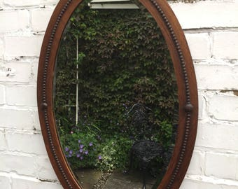 Vintage oak ornate mirror beautiful bevelled oval mirror lovely trimm - antique