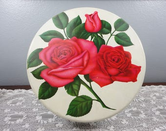 Vintage Mrs. Stevens Red Rose Candy/Chocolate Round Tin - Green Leaves - Chicago