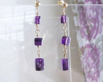Amethyst Earrings with Gold Filled Findings