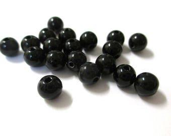 100 6mm black acrylic beads