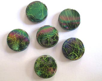 5 beads acrylic flat multicolored drawbench green 16 x 5 mm (2)