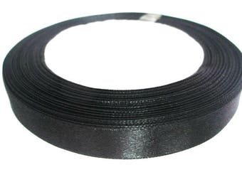 1 reel 23 m colored 12mm black satin ribbon
