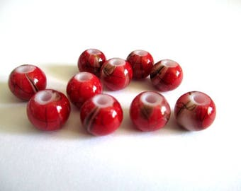 10 red beads, Brown painted glass 8mm (A-09)