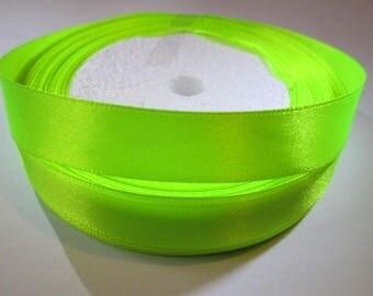 10 m 16mm neon yellow satin ribbon