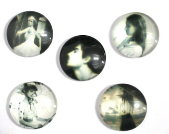 5 vintage 25mm (G-39) printed glass cabochons
