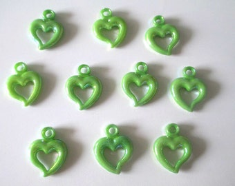 10 pendants green acrylic ab color 20 x 14 mm