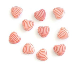 10 acrylic beads heart red white striped 10 x 11 x 5 mm